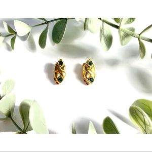 Nina Ricci Vintage Gold and Green Clip-on Earrings